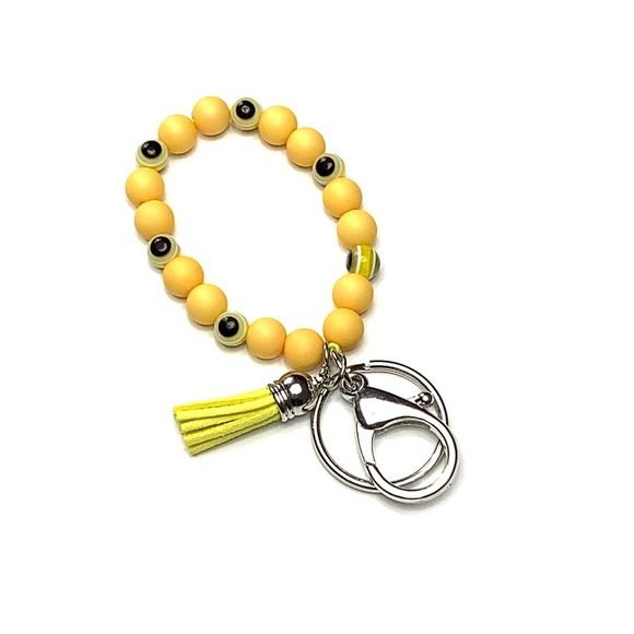 Evil Eye Stretch Bead Tassel Keychain Bracelet Boutique
